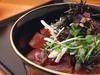 ゆかり風鮪丼 (お通し、小鉢、ご飯、漬物付き)