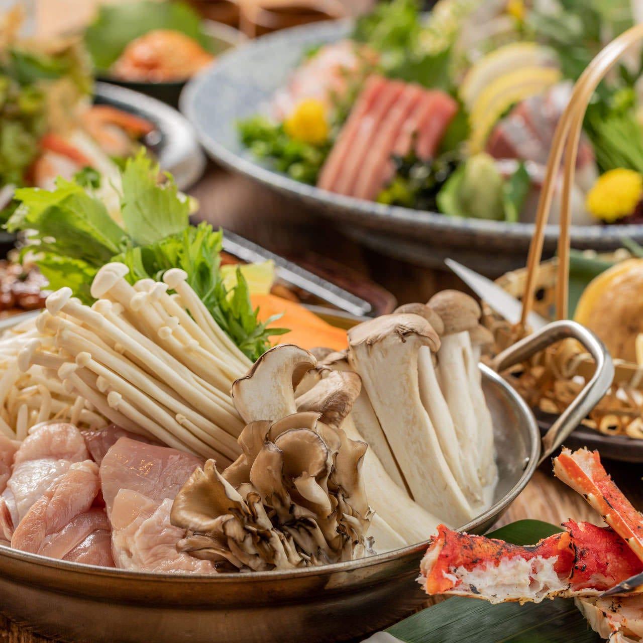 ■鮮魚の二種盛りやメインは水炊き鍋■【満喫コース】2.5時間飲み放題付 8品 3500円 宴会 飲み会