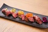 人気NO.1の「肉寿司おまかせ盛り合わせ」