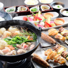 比内地鶏焼鳥ときりたんぽ鍋のコース 4000円