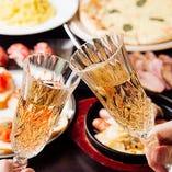 女子会プランを事前にご予約の団体様にはスパークリングワインを1本プレゼント!