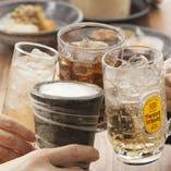 飲み放題は生ビール付で全100種★ノンアルコールも充実★