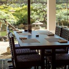 日本庭園を眺めながらお食事