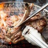 シャモロックの骨付もも肉一枚炙り。売切御免!!1g=11円(税抜)