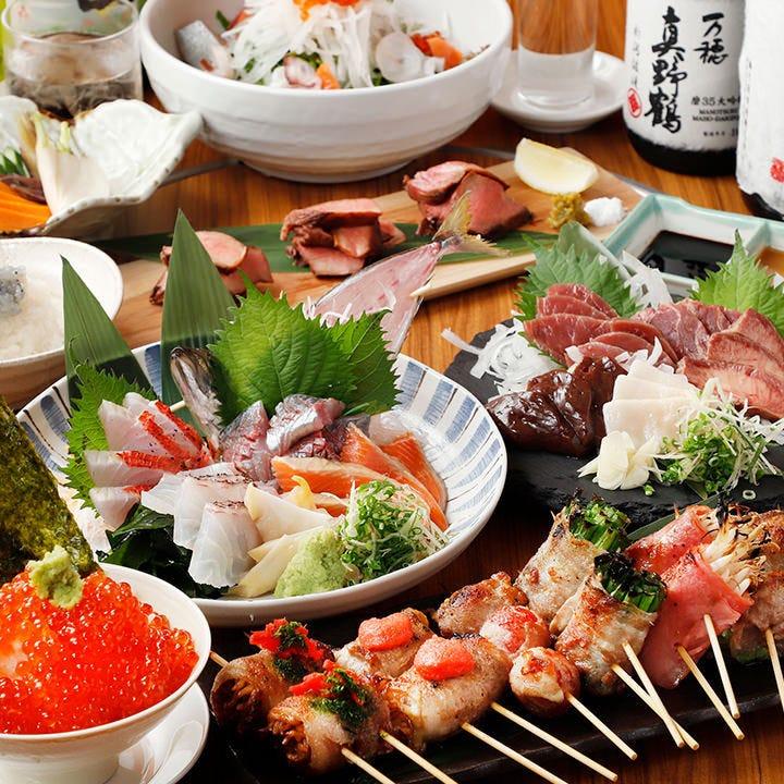 旬の鮮魚など人気メニューが凝縮された宴会コースは飲み放題付