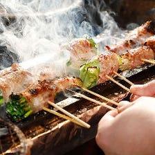 炭火で焼き上げる絶品!野菜巻き串◎