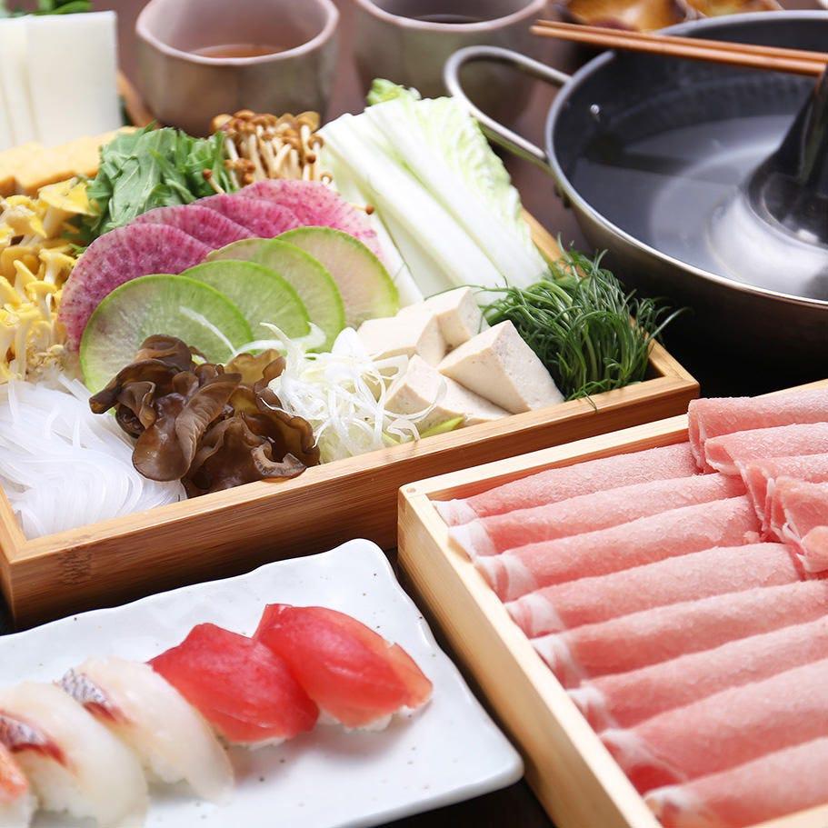 寿司等料理と豚しゃぶ100分食べ放題2380円~