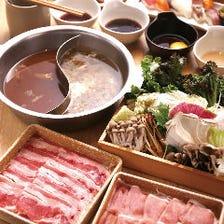 ディナータイム限定牛&豚ロースの二色鍋しゃぶと握り寿司や料理食べ放題!月~木400円引!金土日祝200円引