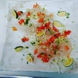 海鮮とホタテのカルパッチョ