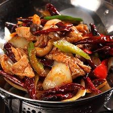 ・ホルモンの干鍋 ・鶏肉の干鍋