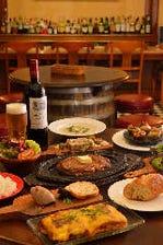 250gのバルステーキを含む5品と飲み放題付「居酒屋(ビストロ)プラン バルステーキコース」