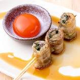 種類豊富な野菜肉巻きは《霧島山麓ポーク》を使用!旨味が◎