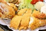 天然有頭海老のフライ定食