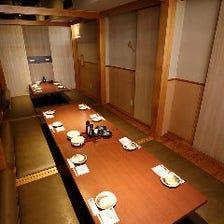 個室ご宴会は30〜最大48名様まで可能
