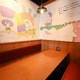 ゆったり食事を楽しめるテーブル席半個室(~8名様×3部屋)