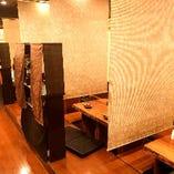貸切宴会は70名様まで。2つの半個室は6名~最大20名様まで可能。