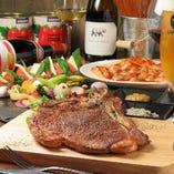 ◆イタリアン歓送迎会◆味/インパクト十分豪華な牛のLボーンステーキ付き【2h飲み放題付】〈全6品〉