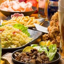 地鶏もも炭火焼や旬魚カルパッチョ含む2.5時間飲み放題7品『宇佐コース』4,378円⇒3,278円