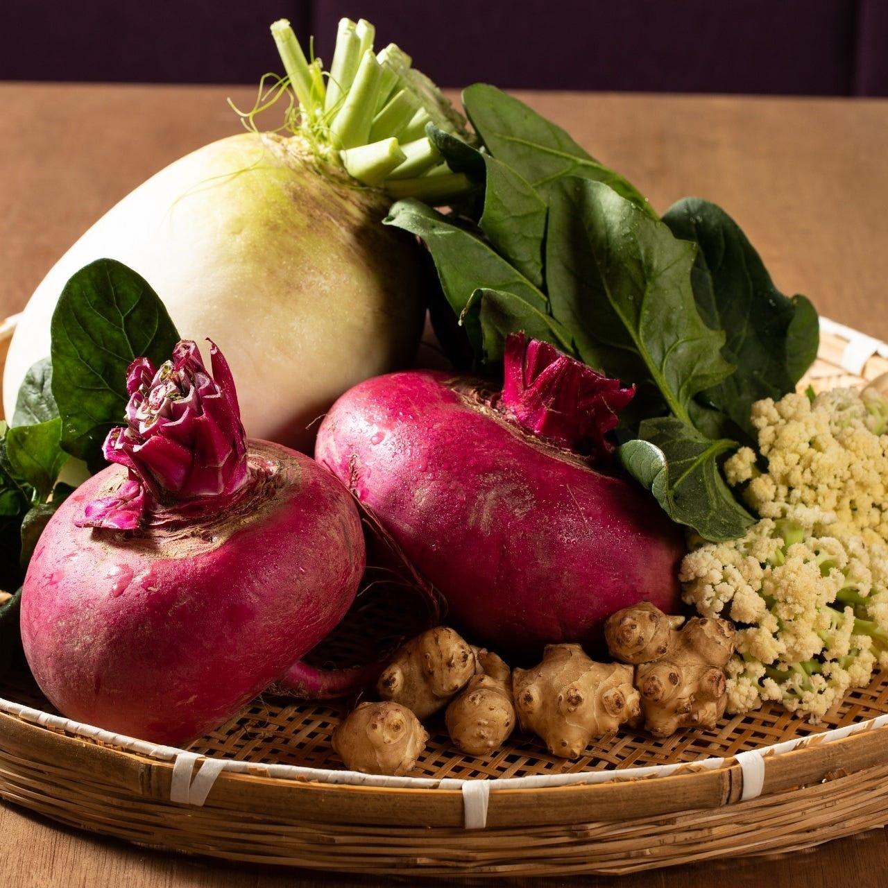 農家直送の京野菜や生姜がたっぷり