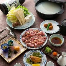 【近江黒鶏の水炊き】手羽先・つくね揚げ・デザート付の8品