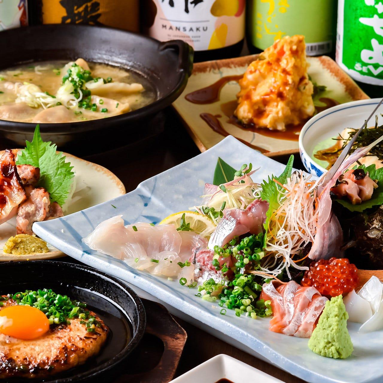【人気!】鮮魚盛りやはなびの人気メニュー含む食事8品2時間飲放コース3500円!もちろんポテサラ食べ放題!