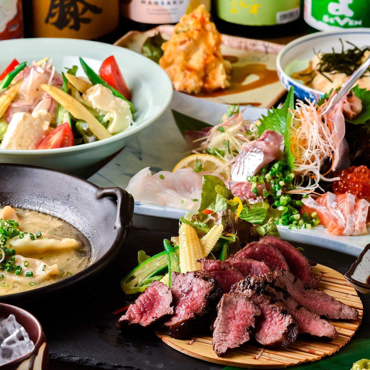 【今夜は贅沢に!】豪華鮮魚8種盛りや和牛!贅沢2時間飲放コース5000円!もちろんポテサラ食べ放題!