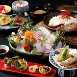 旬の味満載…満喫刺し盛りと北海ブランド肉コース。 3,900円