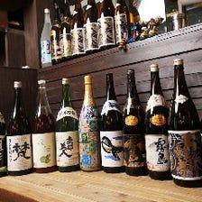 各地の日本酒や九州の焼酎等豊富