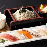 にぎり寿司そばセット(温or冷)