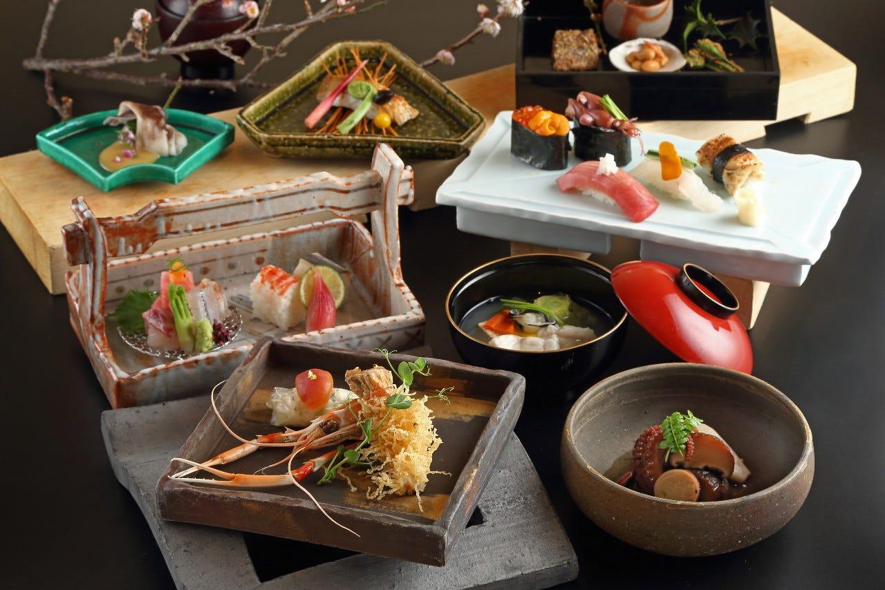 創作和食と寿司が充実した懐石コース