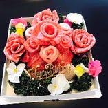 記念日には肉ケーキもご用意ができます。5,000円(税抜)~2種類