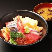 ネタ10種の海鮮丼 味噌汁付き