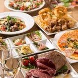 宴会コースでは、本格的な前菜、お魚、お肉、サラダ等もご用意