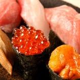 【寿司】 創業40年「天狗鮨」で修業を積んだ店主が握る逸品