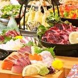 新鮮な鮮魚と馬刺しをとにかく堪能!