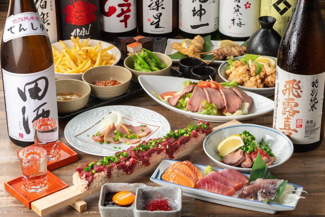 【2時間放題付:全10品】50cmのロングユッケ寿司がメイン「完全個室確約豪華神楽コース」