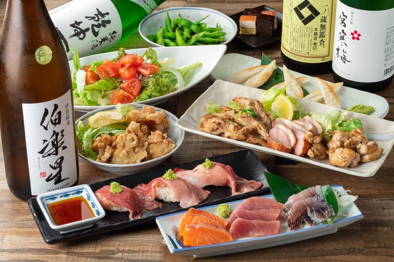 【2時間飲み放題付:全8品】目の前で炙る炙り肉寿司♪「炙り肉寿司コース」