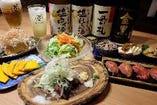 [飲み放題付コース 4000円~] 鰹の塩タタキ&和牛炙り寿司付