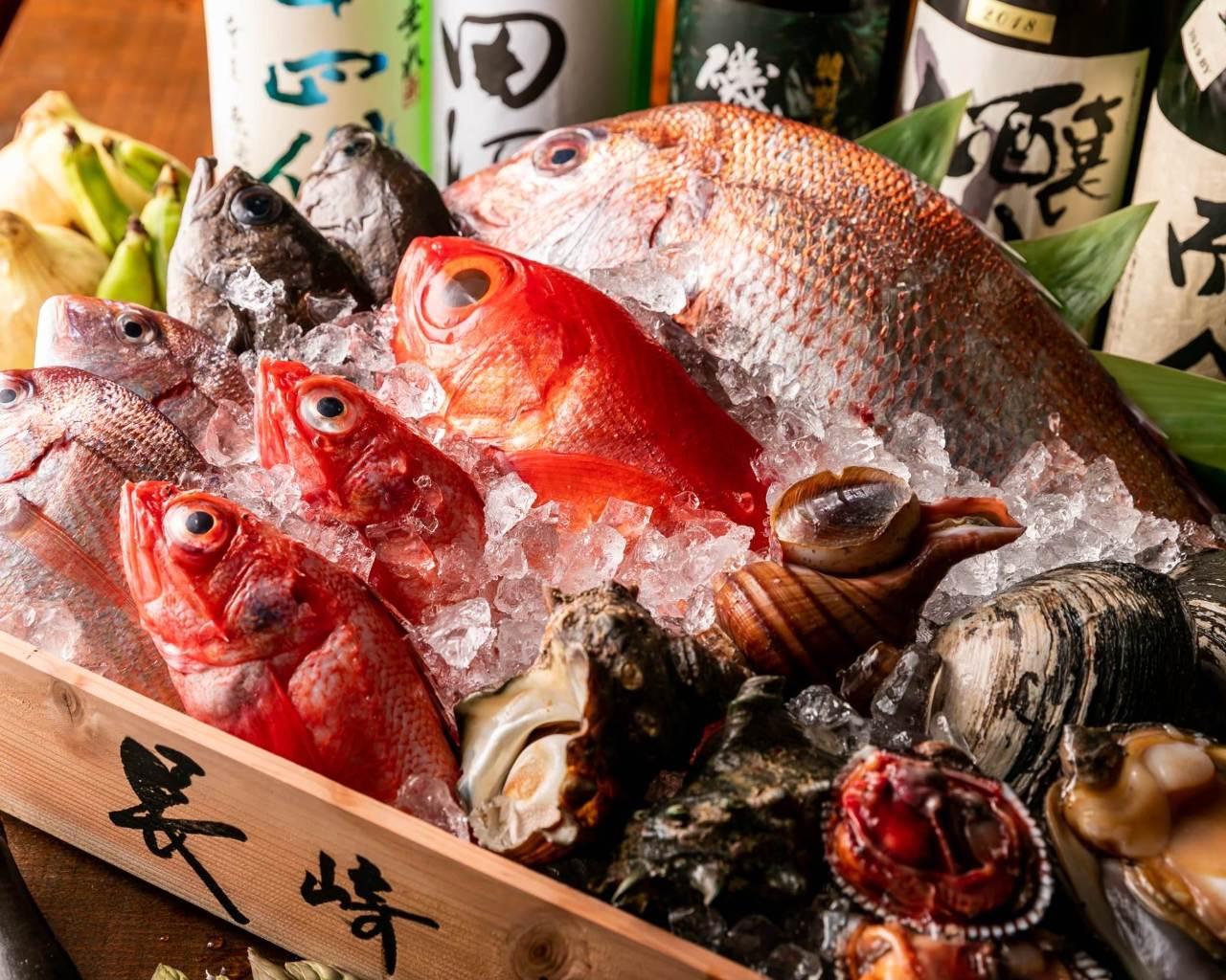 自慢の鮮魚を刺身や一品料理で♪