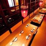 最大25名まで利用可能な二階の完全個室ご予約はお早めにどうぞ!