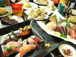 【厳選素材の握り寿司コース】 人気のお料理とお寿司を含む9品・5000円☆☆(2時間飲み放題付!!)