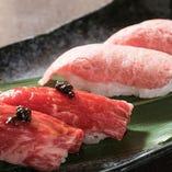 期間限定!肉寿司登場♪様々な部位を食べ比べてみてください