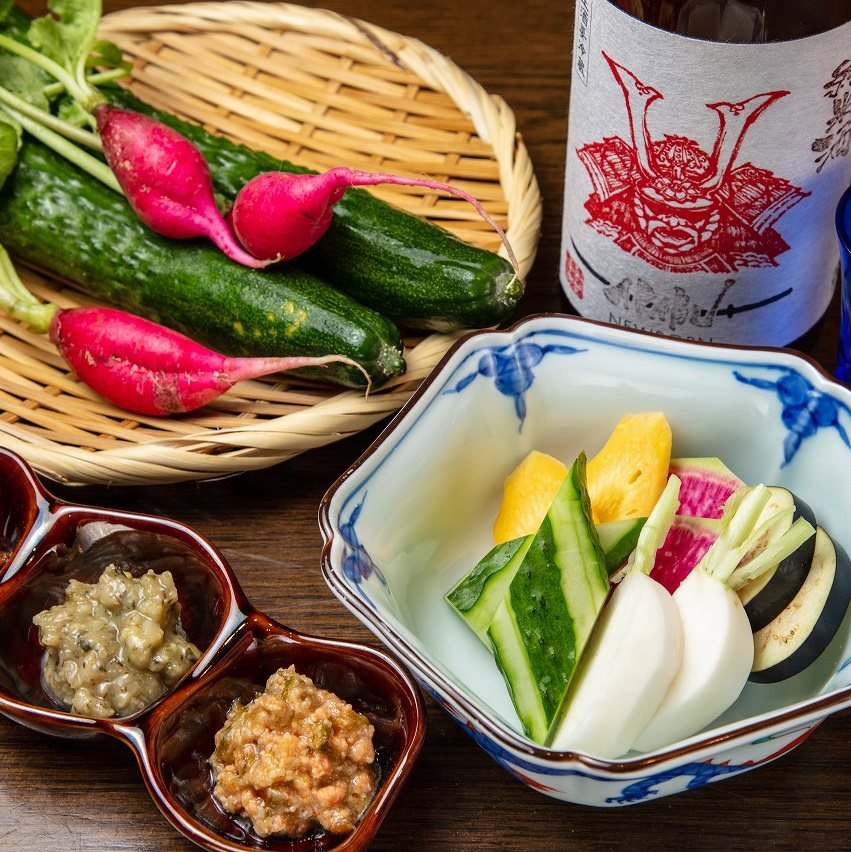 三浦半島直送のお野菜を、三種類の嘗め味噌で!!