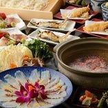 熱々の出汁が染み渡る!鯛出汁しゃぶしゃぶが堪能できる♪『お鍋満喫コース』〈全8品〉3,500円
