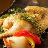 鶏半身のガーリックソルト焼き