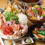 ワンランク上のお料理にみんなで舌鼓♪メインのお鍋は、桜鯛と特選牛からえらべるしゃぶしゃぶ鍋をご用意