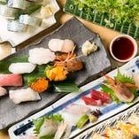 コースにはお造りや握り寿司が入った豪華な内容です!