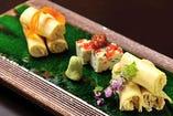 ◆生湯葉の造り 菜豆腐添え
