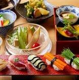 コース料理は3500円よりご用意。本格和食会席と職人の寿司を。