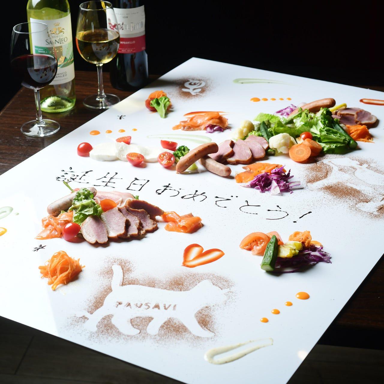 目の前で描くテーブルアートでお祝い